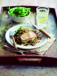 Pan-fried pork with balsamic lentils