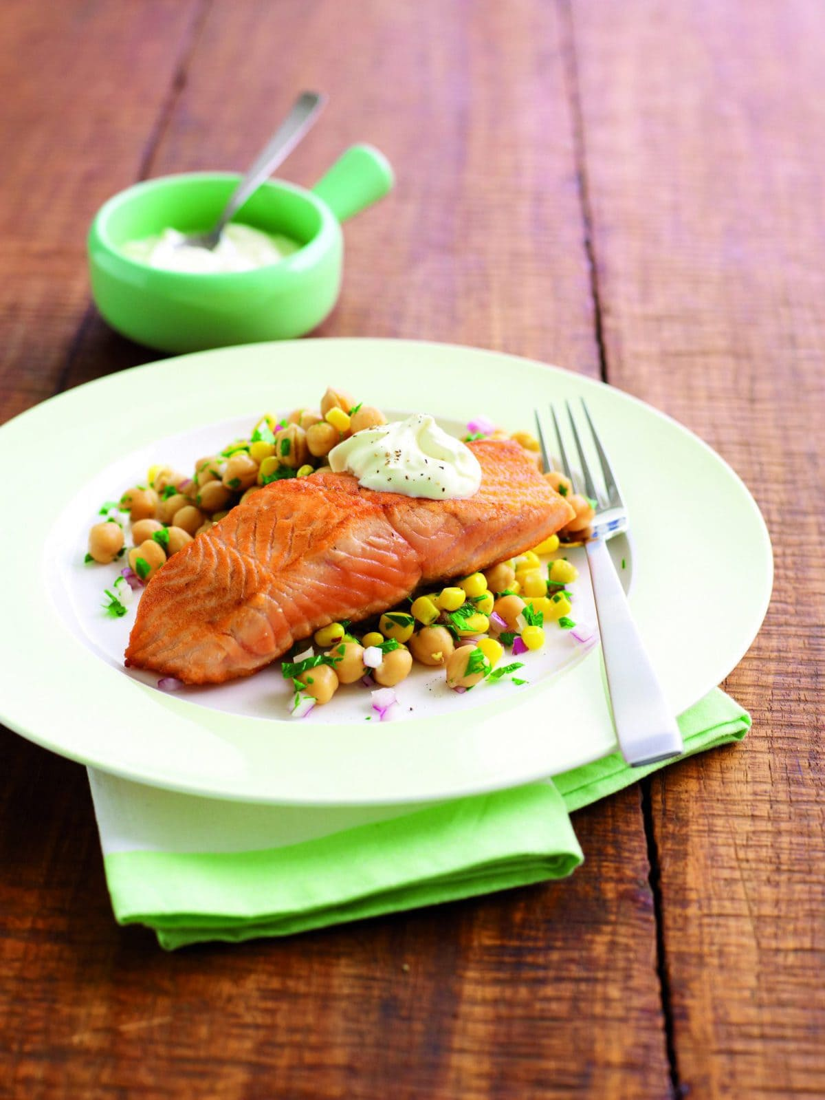 Pan-fried salmon with chickpea salad