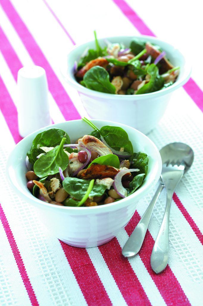 Paprika chicken and four-bean salad