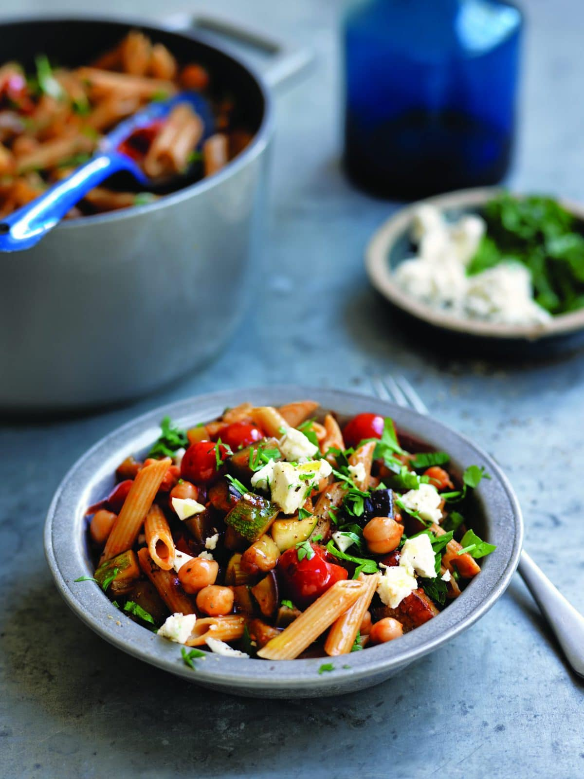 Pasta with eggplant, tomato, chickpeas and feta