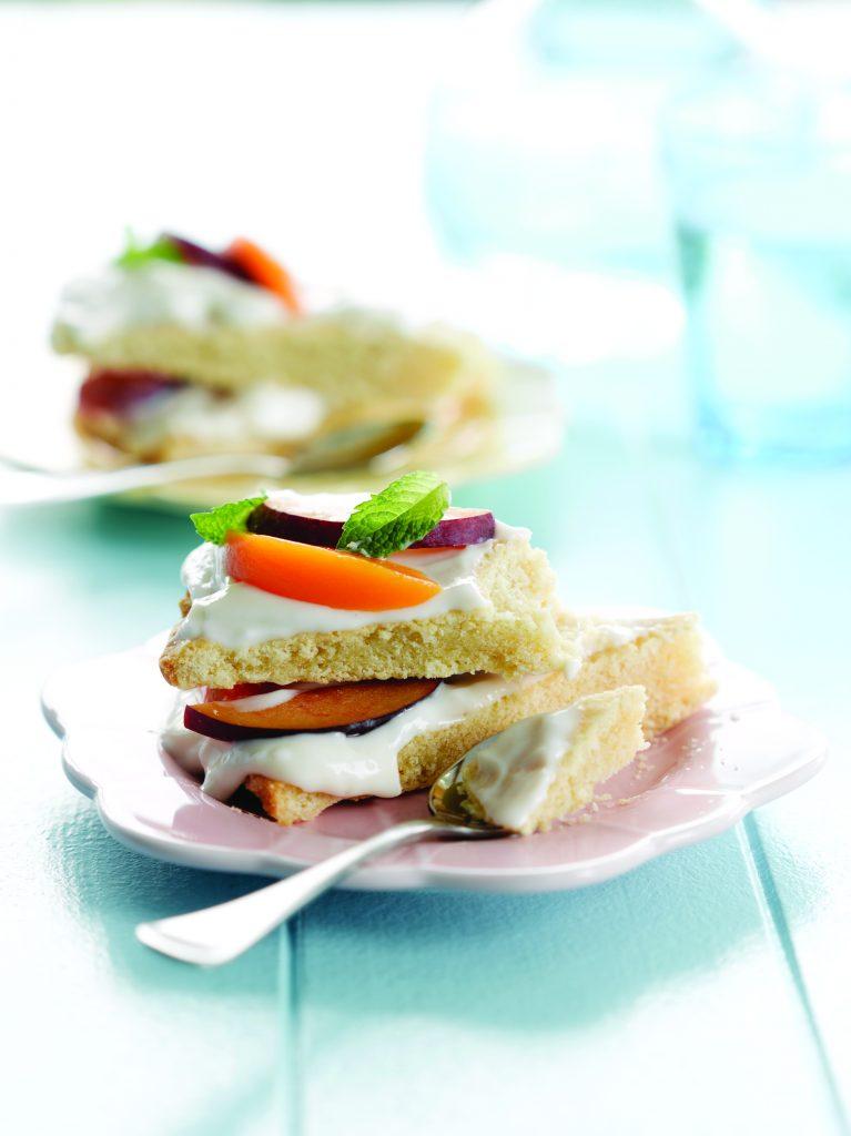 Peach and plum shortcake