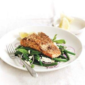Pepper and sesame-crusted salmon with mint peas