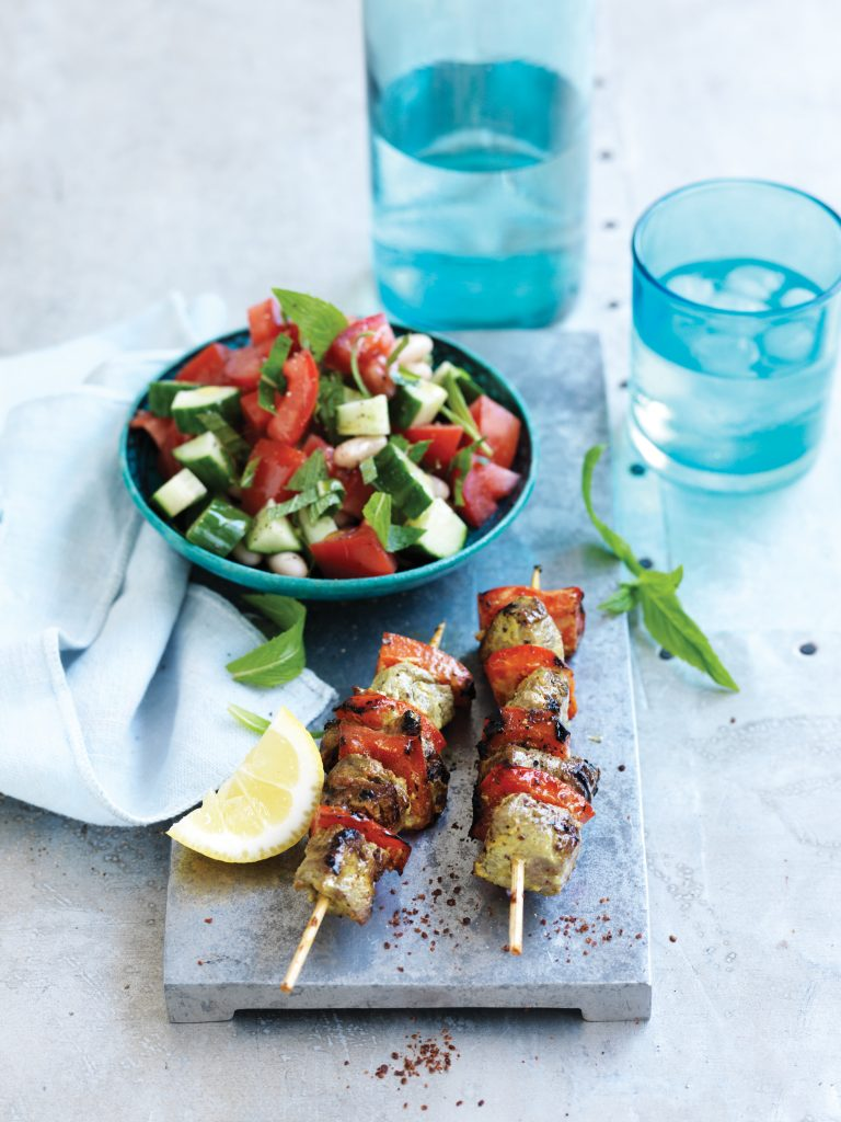 Persian beef skewers with chopped tomato and mint salad