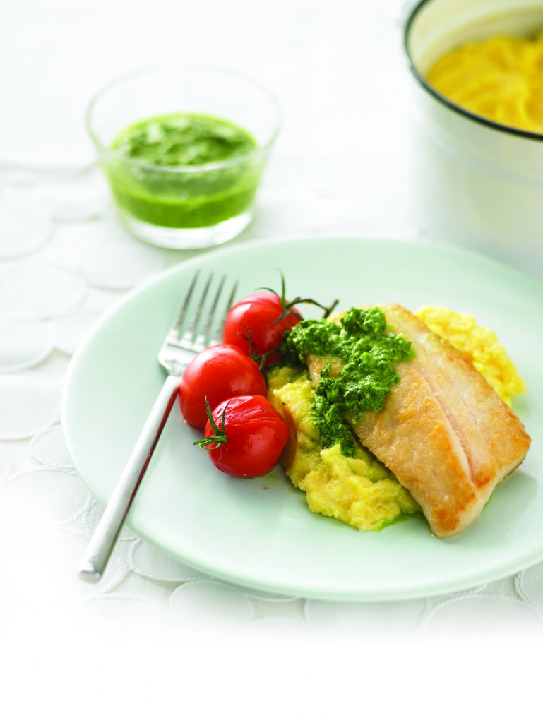 Pesto fish fillets with creamy polenta