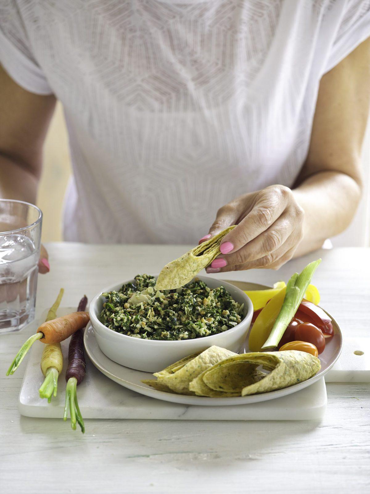 Pesto platter snacks