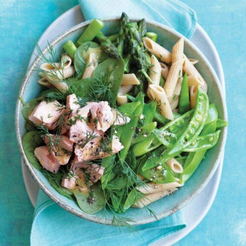 Poached salmon, pasta and pea salad with mustard dressing