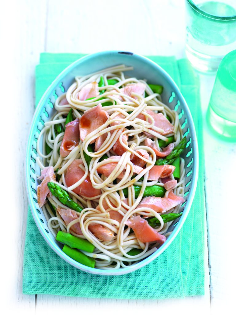 Poached salmon and noodle salad with sesame dressing