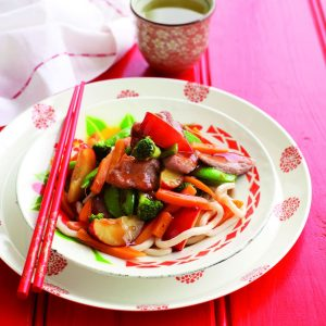 Pork and plum stir-fry