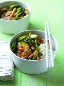 Pork, broccoli and almond stir-fry