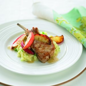 Pork cutlets with red apples and parsnip mash