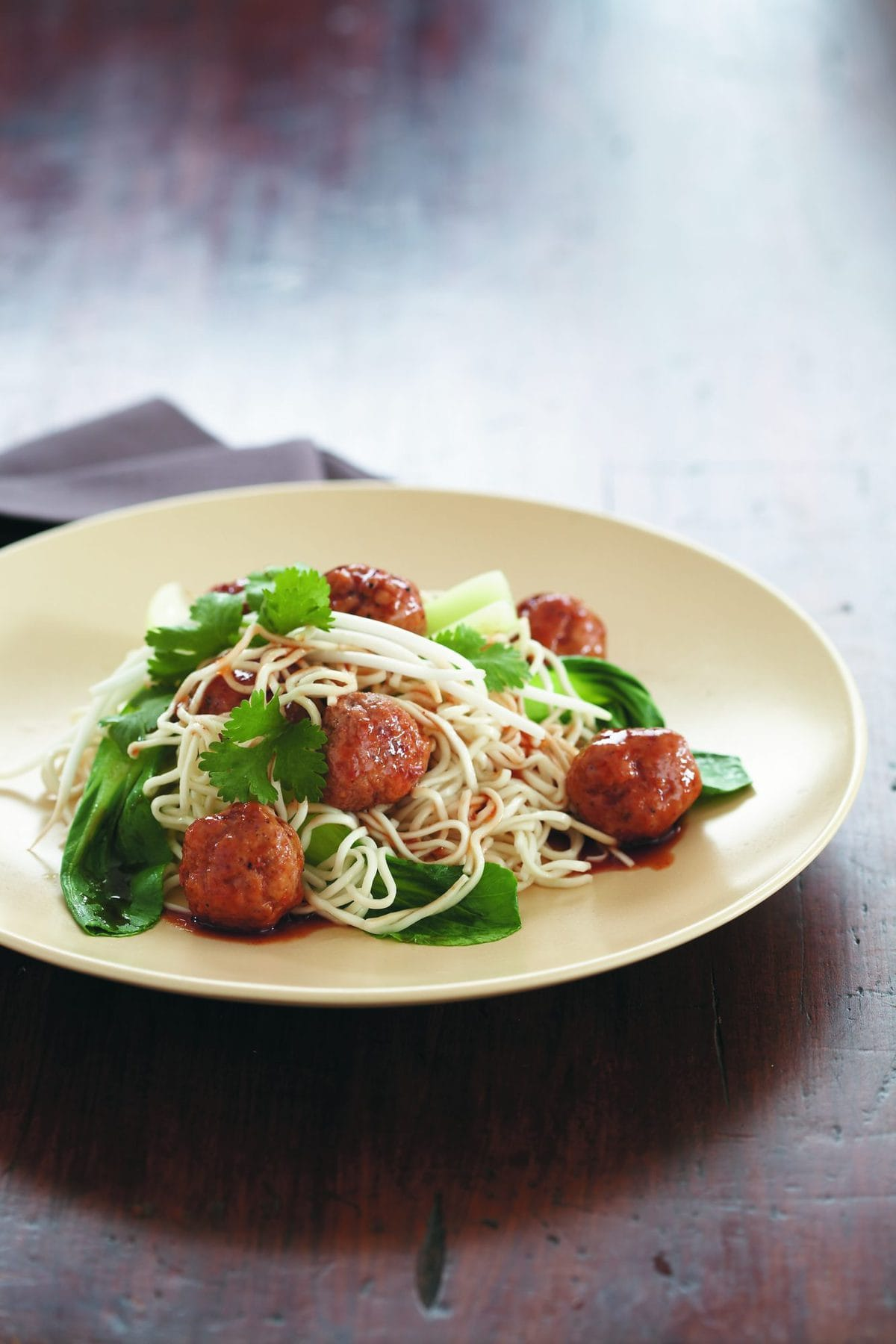 Pork Meatballs With Egg Noodles And Asian Greens Healthy