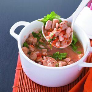 Pork, tomato, cannellini bean and rocket casserole