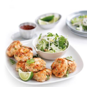 Prawn and fish cakes with noodle salad