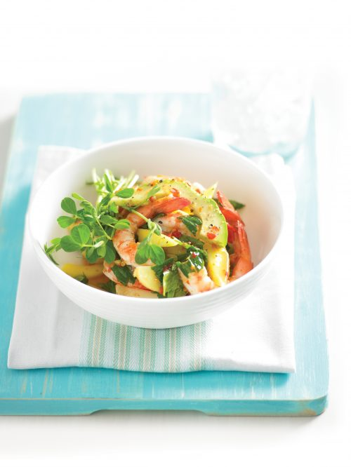 Prawn and mango salad with chilli lime dressing
