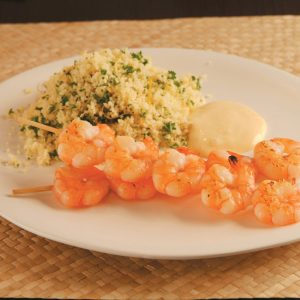 Prawn kebabs with lemon parsley couscous