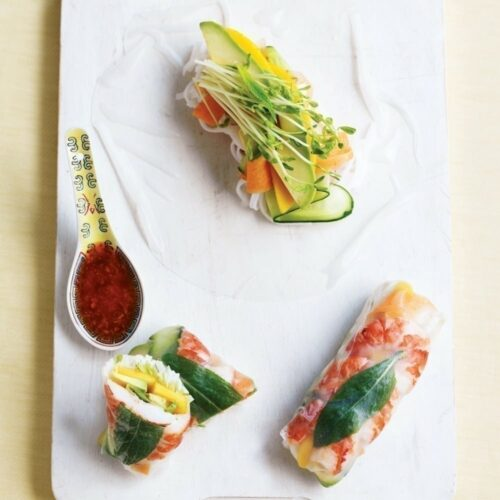 Prawn, mango and avocado rolls