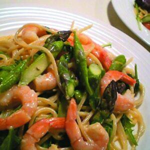 Prawn, pea and asparagus pasta