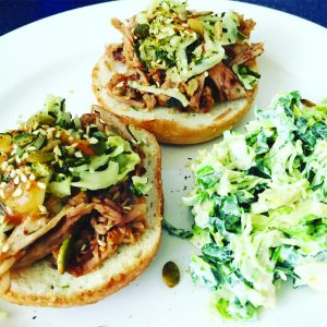 Pulled pork buns with broccoli slaw