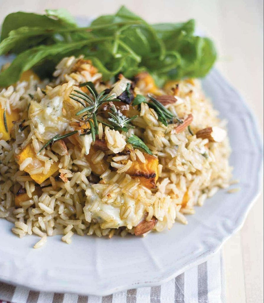 Pumpkin and blue cheese brown rice pilaf