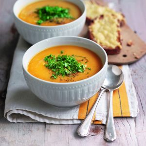 Pumpkin and bean soup with orange gremolata