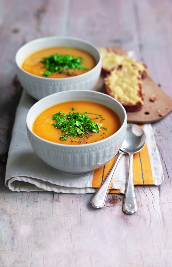 Pumpkin and bean soup with orange gremolata