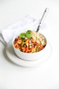 Quick chickpea and tofu curry
