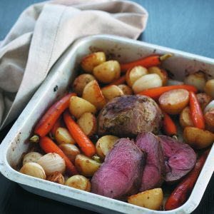 Quick lamb and vegetable roast