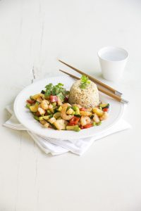 Quick pineapple prawn stir-fry