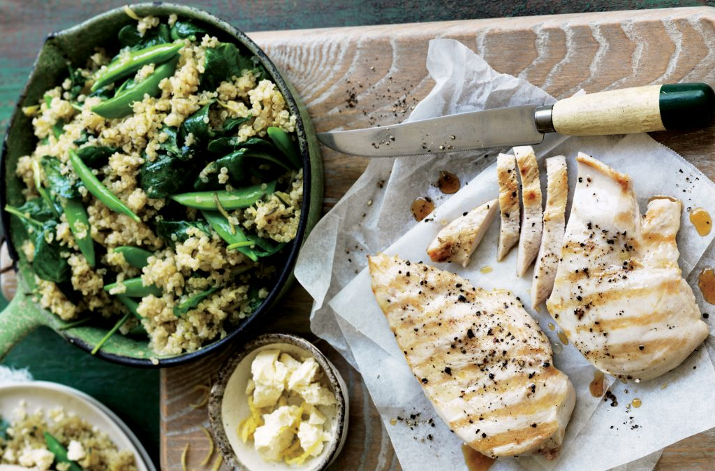 Quinoa pilaf with grilled chicken, feta and lemon