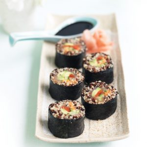 Quinoa, smoked salmon and shredded vegetable sushi rolls