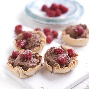 Raspberry and chocolate filo tarts
