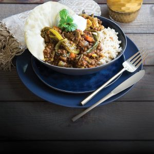 Red curry lentils with rice and pappadums