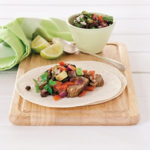 Pork tacos with black bean salsa salad