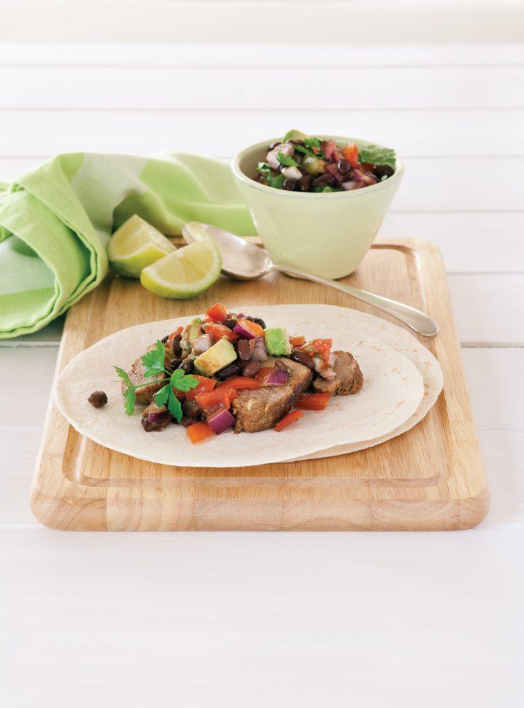 Pork tacos with black bean salsa salad