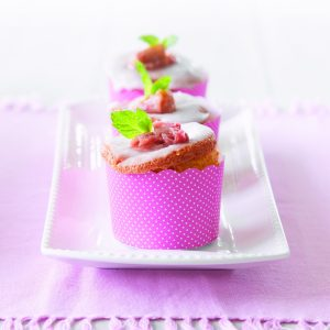 Rhubarb feather cups