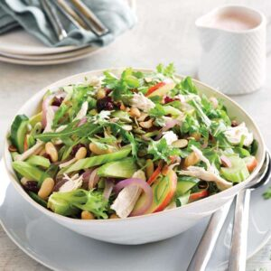 Roast chicken salad with cranberry dressing