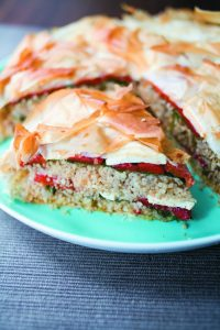 Roast capsicum, feta and couscous pie