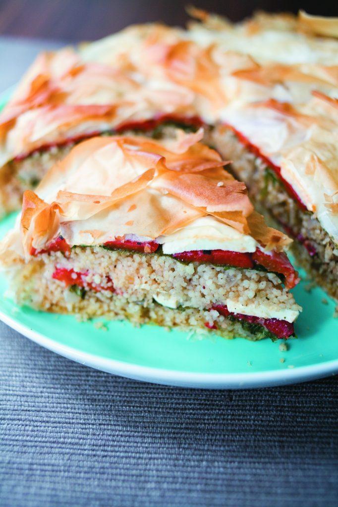Roast capsicum, feta and couscous pie