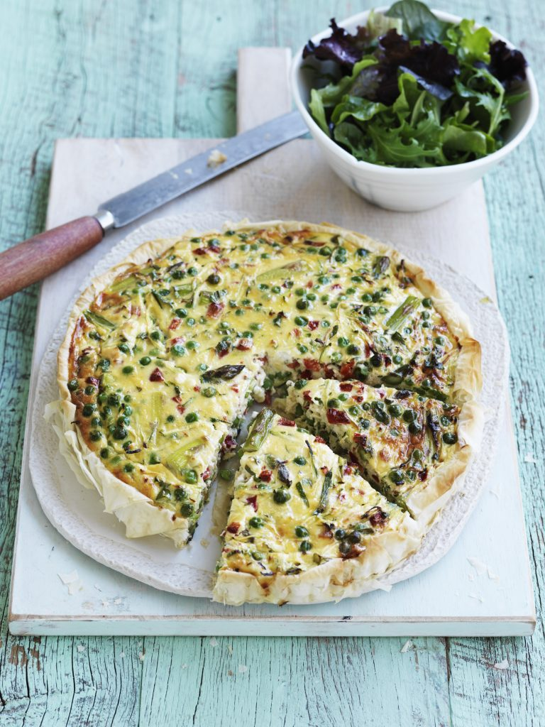 Roast capsicum, pea and courgette quiche