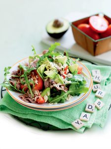 Roasted beef, rice and rocket salad