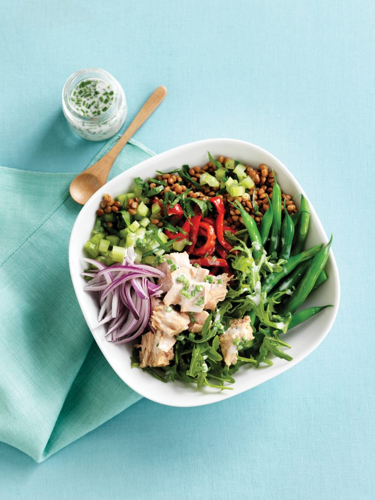 Roasted capsicum, chilli tuna, green bean and lentil bowl with lemon buttermilk dressing