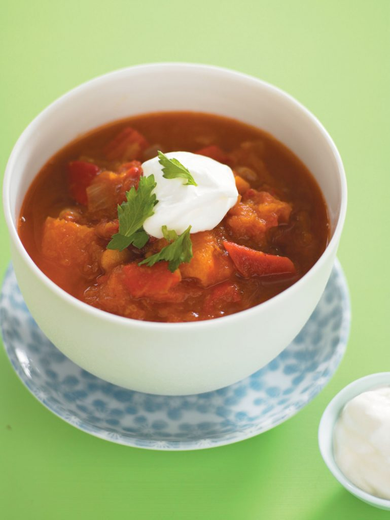 Roasted capsicum, pumpkin and tomato soup