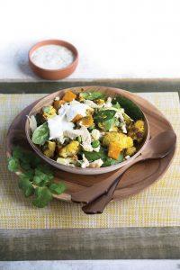 Roasted cauliflower and kumara salad with chicken and feta