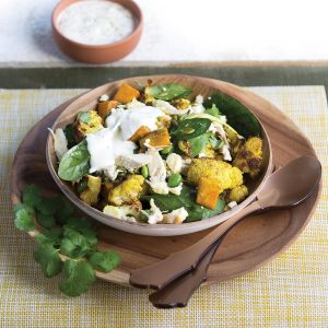 Roasted cauliflower and kumara salad with chicken and feta