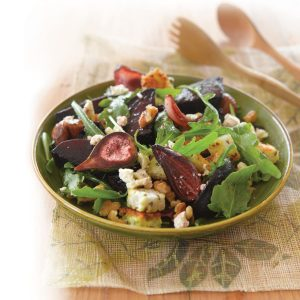 Roasted fig, beetroot, walnut and goats' cheese salad
