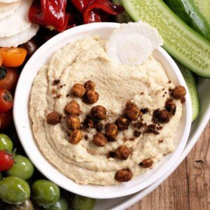 Roasted garlic hummus with spiced chickpeas