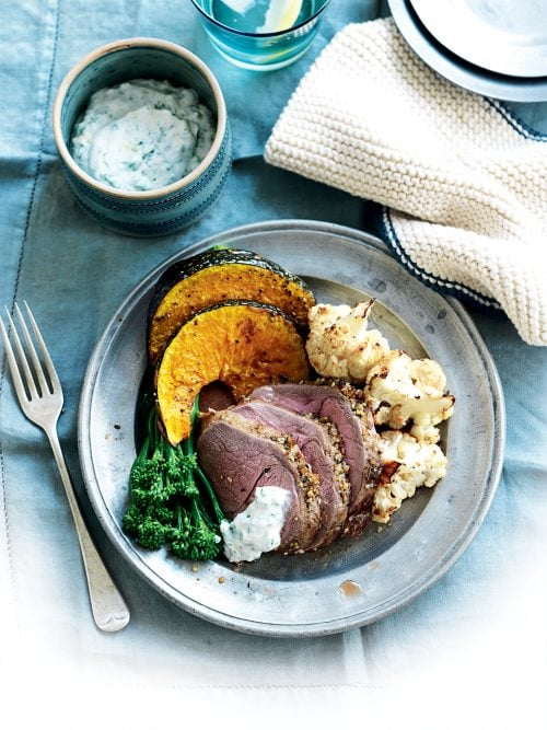 Roasted lamb with pumpkin and dukkah