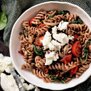 Roasted tomato and lentil pasta with ricotta
