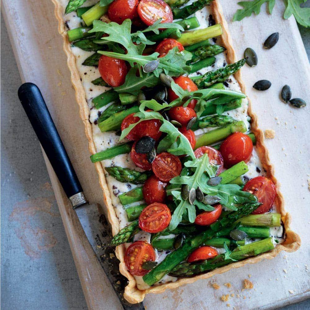 Roasted tomato, olive and asparagus tart