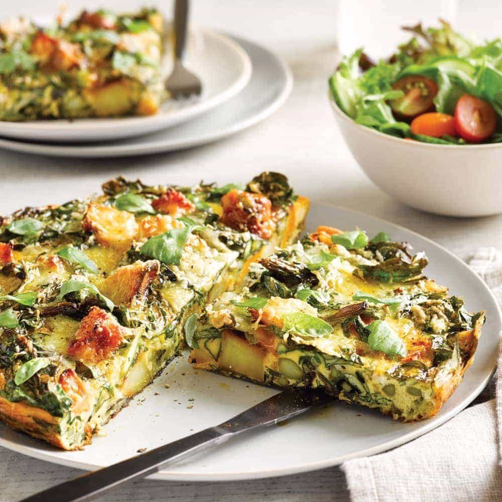 Roasted vege frittata with summer salad